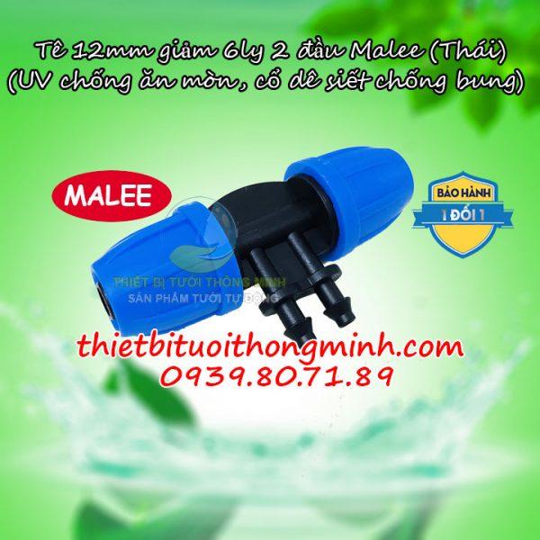 Tê nối ống 12mm chuyển 2 đầu ống 6mm Malee
