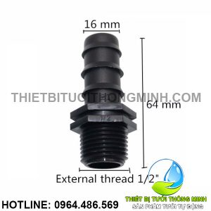 Nối ống 16mm 1 đầu ren ngoài phi 21