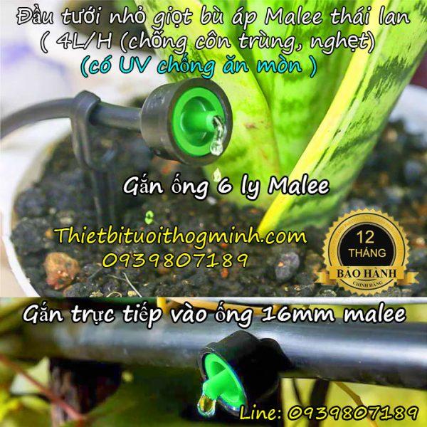 Đầu tưới nhỏ giọt bù áp 4 lít/giờ Malee thái lan