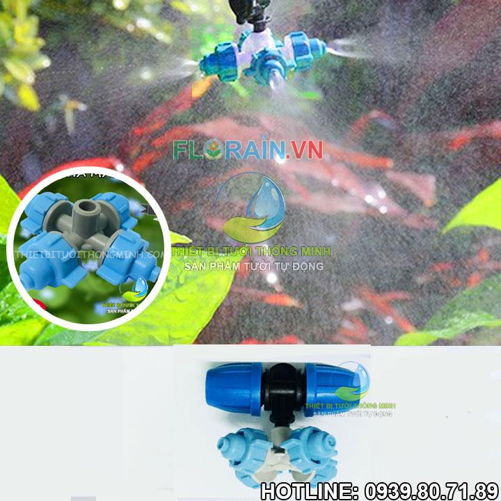 Béc phun sương 4 vòi tưới gắn ống 12mm cao cấp Florain
