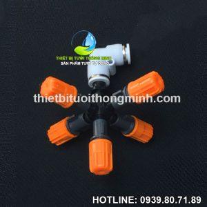 Béc phun sương 5 đầu gắn ống cứng 8mm cao cấp STNC