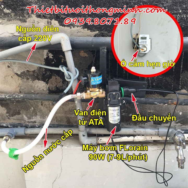 Bộ máy bơm van hẹn giờ tưới cây tự động ATA TĐP-01