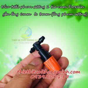 Đầu vòi tưới lan 1 tia cam tê 6mm 8mm Florain