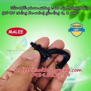 Đầu béc tưới phun sương mịn tròn 360 độ chân thẳng 6mm và 8mm Malee