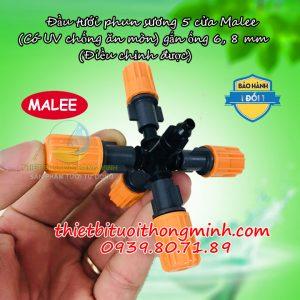 Đầu tưới phun sương 5 cửa chân thẳng 6mm 8mm Malee
