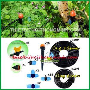 Bộ tưới cây 20 béc tưới phun mưa 8 tia cắm gốc malee thái lan ống 12mm