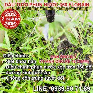 Đầu tưới thả gốc phun nước tròn 360 độ Florain
