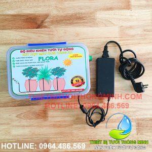 Bộ điều khiển tưới tự động FLORA (dùng điện + bơm tăng áp 90W)(adapter 220V-12V)