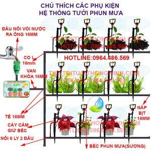 hệ thống tưới phun mưa tưới rau, cây tự động