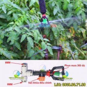 Béc phun mưa 360 độ ống 8mm cao cấp Florain