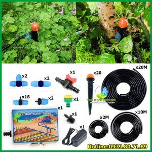Bộ kit tưới gốc cây tự động dùng điện Florain 20 đầu phun nước 8 tia