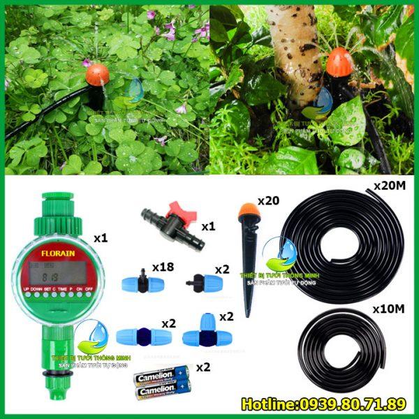 Bộ kit tưới gốc cây tự động dùng pin Florain 20 đầu phun nước 8 tia