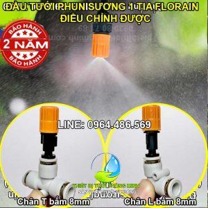 Đầu tưới phun sương 1 tia cam gắn ống 8mm cao cấp STNC