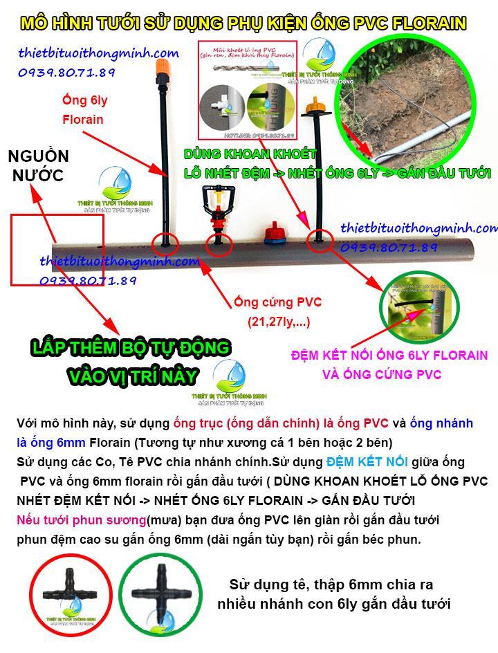 Mô hình tưới sử dụng phụ kiện ống cứng PVC