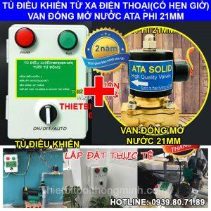 Tủ điều khiển tưới từ xa bằng wifi van điện từ phi 21mm ATA TĐW-V21