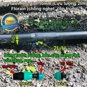 Ống tưới nhỏ giọt bù áp 2LH đục lỗ sẵn khoảng cách lỗ 20cm ống 10mm