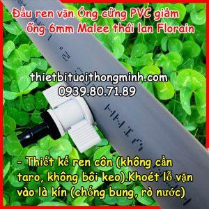 Đầu khởi thủy ống cứng pvc ren 6mm gắn béc Florain