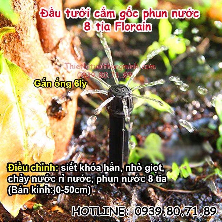 Đầu tưới 8 tia phun nước cắm gốc Florain
