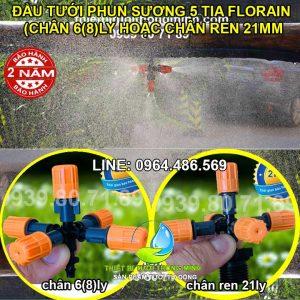 Đầu vòi tưới lan 5 tia cam chân 6mm 8mm, chân ren ngoài 21mm Florain