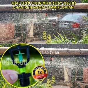 Đầu tưới phun mưa xoay 360 độ chân ren ngoài 21mm Florain