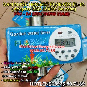 Máy tưới cây tự động van nước hẹn giờ đóng mở tự động Florain (Điện áp 220-12V an toàn)(B/H 12T 1 đổi 1)(Hoạt động siêu bền, ổn định)