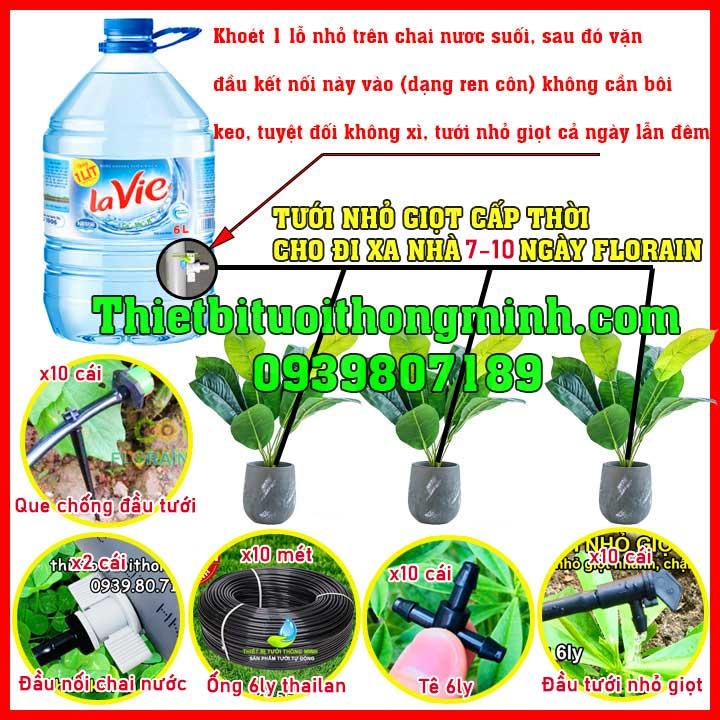 Bộ tưới cây nhỏ giọt gắn bình nước suối FLorain