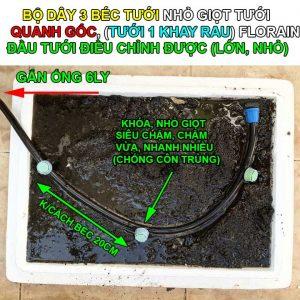 Bộ dây béc tưới nhỏ giọt quanh gốc, khay rau thùng xốp Florain