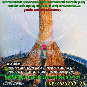 Đầu béc tưới phun mưa cao xòe tròn 360 độ cắm gốc 360 độ Florain