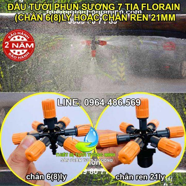 Đầu tưới phun sương 7 cửa chân 6 8ly ren ngoài 21mm Florain